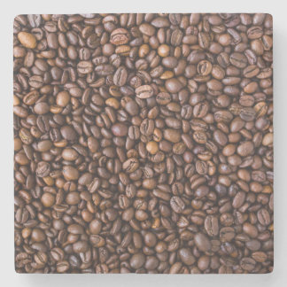 Roasted Coffee Beans Texture Structure Background Stone Coaster