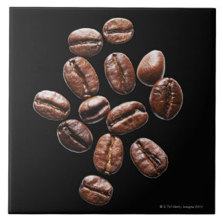 Roasted coffee beans large square tile