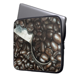 Roasted Coffee Beans With Silver Scoop Photograph Laptop Sleeve