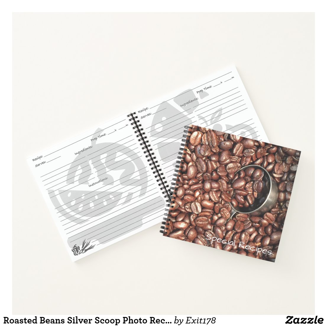 Roasted Coffee Beans With Silver Scoop Photograph Notebook