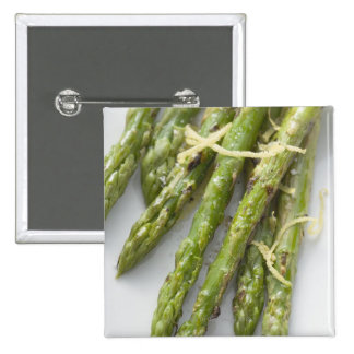 Roasted green asparagus with lemon zest, pinback buttons