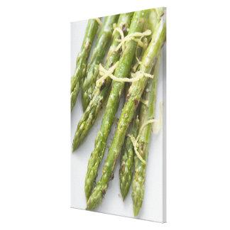 Roasted green asparagus with lemon zest, canvas print
