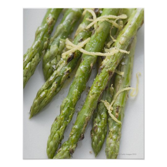 Roasted green asparagus with lemon zest, poster