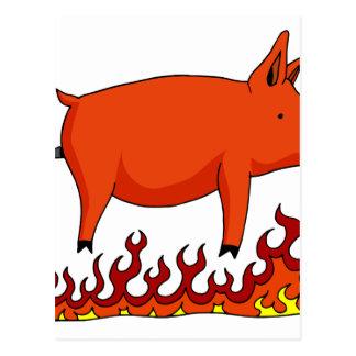 Roasted Pig on a Spit Postcard