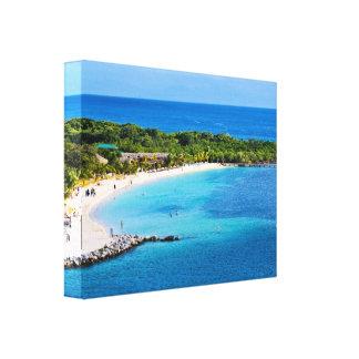 Roatan Beach Wrapped Canvas Print
