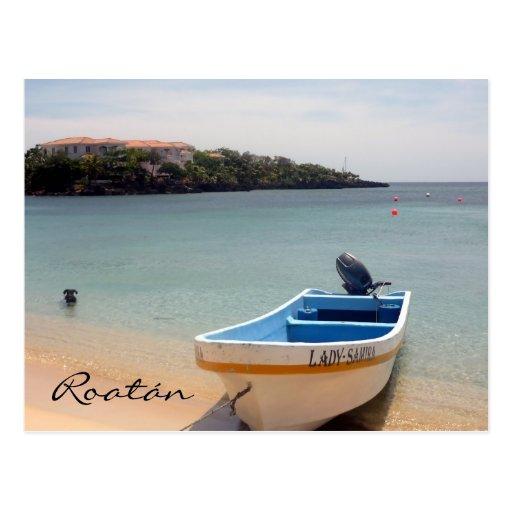 roatán boat postcards