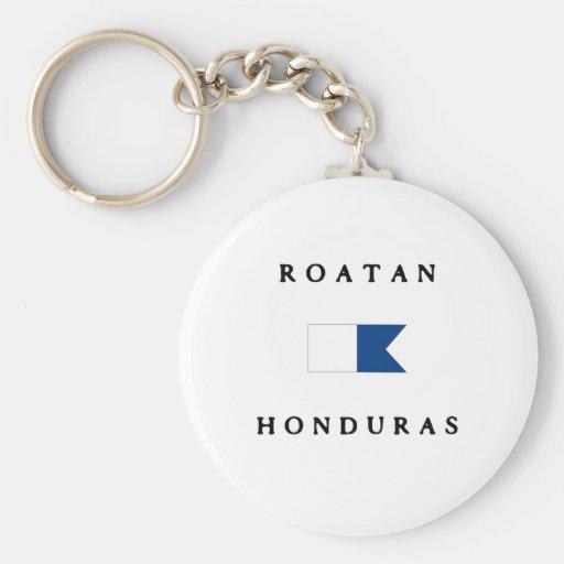 Roatan Honduras Alpha Dive Flag Keychain