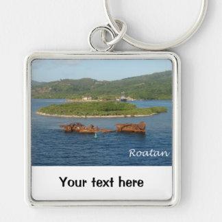 Roatan, Honduras Silver-Colored Square Keychain