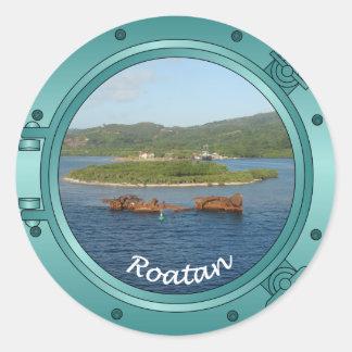 Roatan Porthole Classic Round Sticker