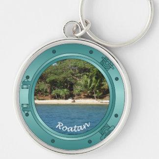Roatan Porthole Silver-Colored Round Keychain