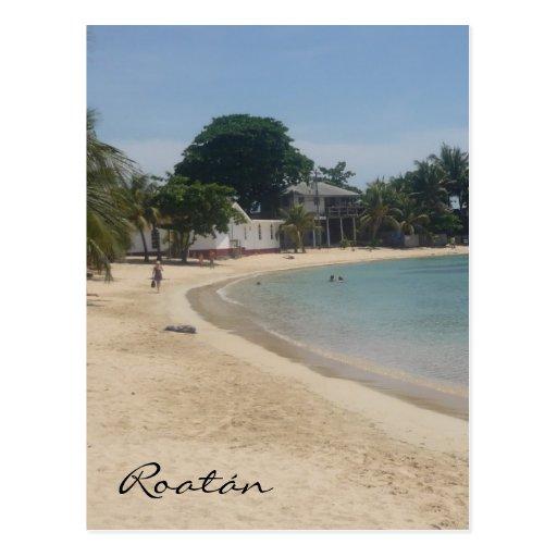roatán sandy beach postcard