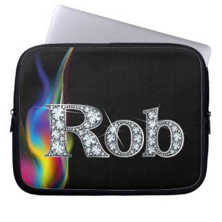 """Rob """"diamante"""" en bolso del remolino del arco iris fundas ordendadores"""