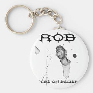 ROB RISE ON BELIEF LOGO KEYCHAIN