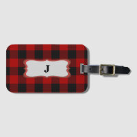 Rob Roy Tartan Red & Black Bag Tag & Biz Card Slot