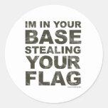Robando su bandera - FPS, juego, videojugador, vid Etiqueta Redonda