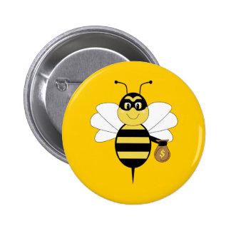 RobBee manosea el botón de la abeja Pins