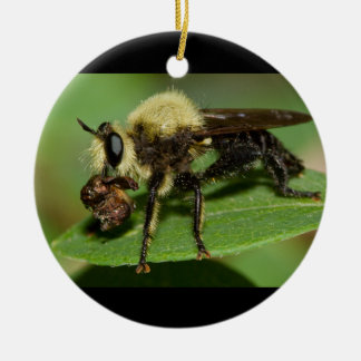Robber Fly with Lunch Ceramic Ornament