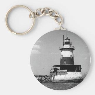 Robbins Reef Lighthouse Basic Round Button Keychain