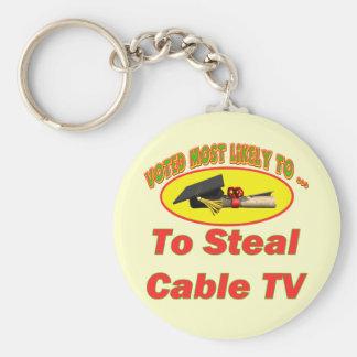 Robe la televisión por cable llavero redondo tipo pin