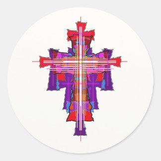 Robed Graphic Crucifix. Classic Round Sticker