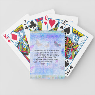 Robert Browning quote about animal compassion Bicycle Playing Cards