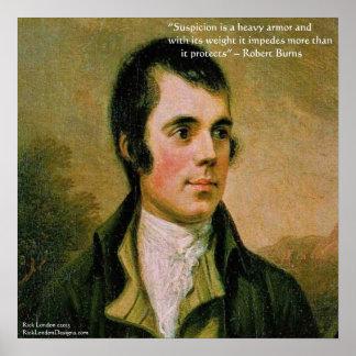 Robert Burns & Famous Suspicion Quote Poster