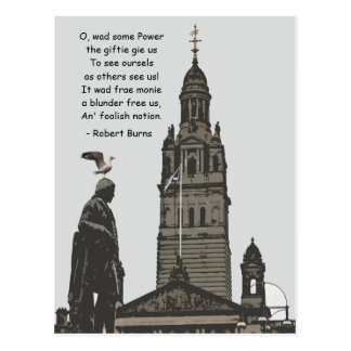Robert Burns Ponders Glasgow City Chambers Postcard
