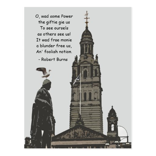 Robert Burns Ponders Glasgow City Chambers Postcards