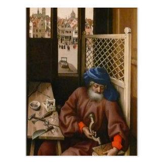 Robert Campin- Joseph as a medieval carpenter Post Card