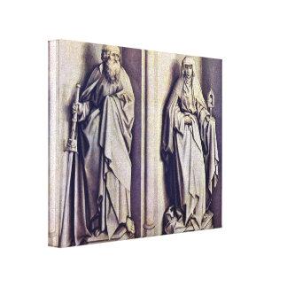 Robert Campin - StJames the Elder and StClare Canvas Print