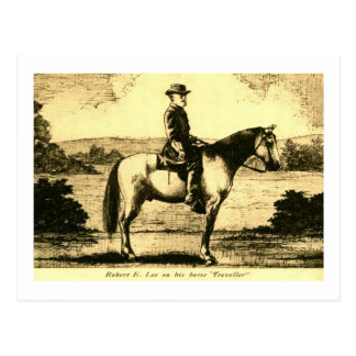 Robert E Lee on His Horse Traveller Postcard