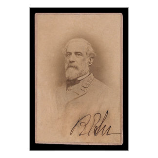 Robert E. Lee Signed Card 1860 Poster