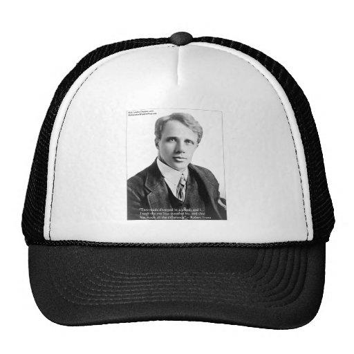 """Robert Frost """"camino viajó"""" cita en tarjetas y el  Gorros"""