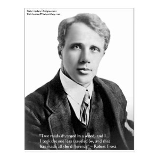 """Robert Frost """"Road Traveled"""" Quote On Cards & Gift"""