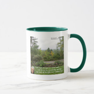 "Robert Frost Wisdom Quote ""Road Less Traveled"" Mug"