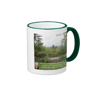 "Robert Frost Wisdom Quote ""Road Less Traveled"" Ringer Mug"