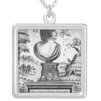 Robert Herrick , engraved by the artist Square Pendant Necklace