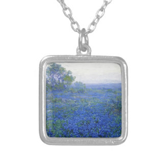 Robert Julian Onderdonk a-cloudy-day-bluebonnets Square Pendant Necklace