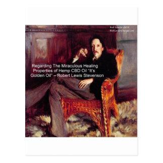 Robert Louis Stevenson & Quote CBD is Golden Oil Postcards