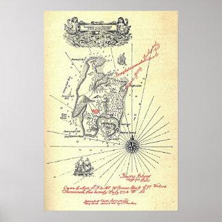 Robert Louis Stevenson's Treasure Island Map Poster