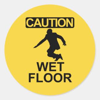Robert Mugabe wet floor sign Classic Round Sticker