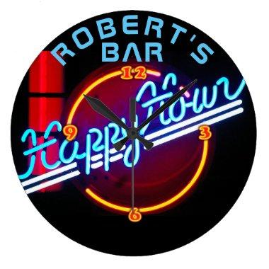 ROBERT - Name Neon Sign Bar Mancave Den Clock Fun