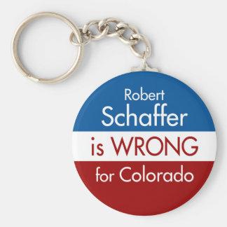 Robert Schaffer is Wrong for Colorado Basic Round Button Keychain