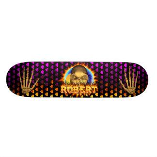 Robert skull real fire and flames skateboard desig