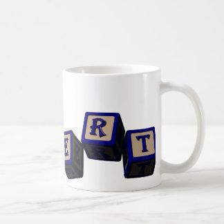 Robert toy blocks in blue coffee mug
