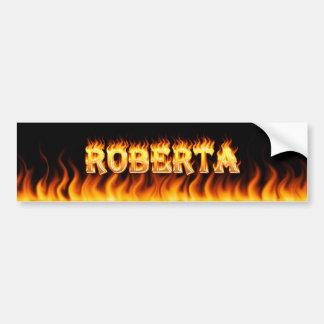 Roberta real fire and flames bumper sticker design car bumper sticker