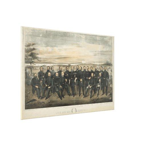 Roberto E. Lee y sus generales del confederado de  Impresion De Lienzo