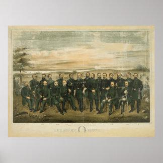 Roberto E. Lee y sus generales del confederado de  Póster
