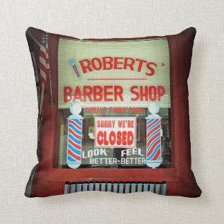 Roberts Barber Shop Throw Pillows