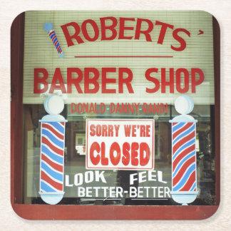 Roberts Barber Shop Square Paper Coaster